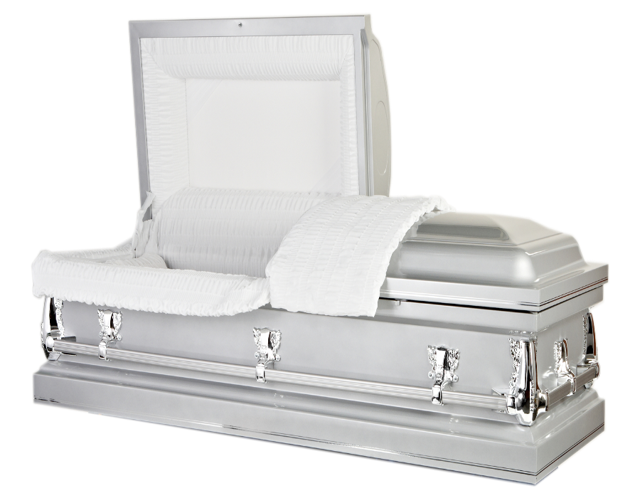 Classic Silver Shine traditional American coffin casket
