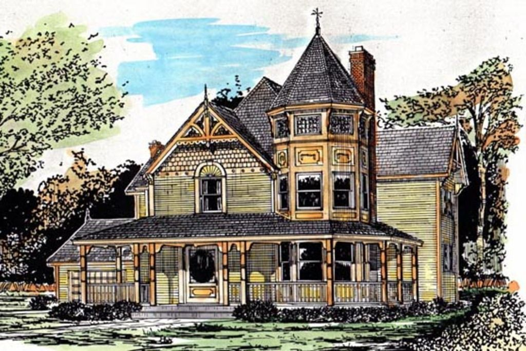 Victorian Style House Plan 4 Beds 2 5 Baths 2056 Sq Ft Plan 315 103 Victorian House Plans Victorian Homes House Plans
