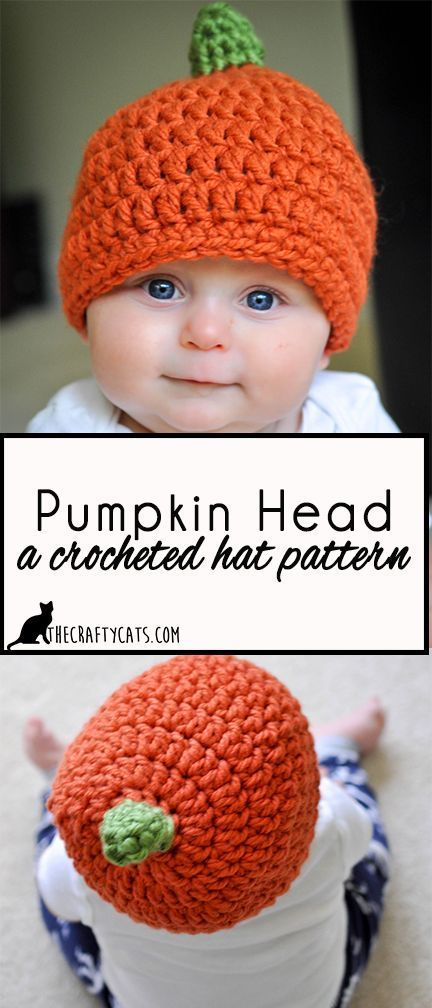 Pumpkin Head: Crochet pumpkin hat pattern for babies and toddlers ...
