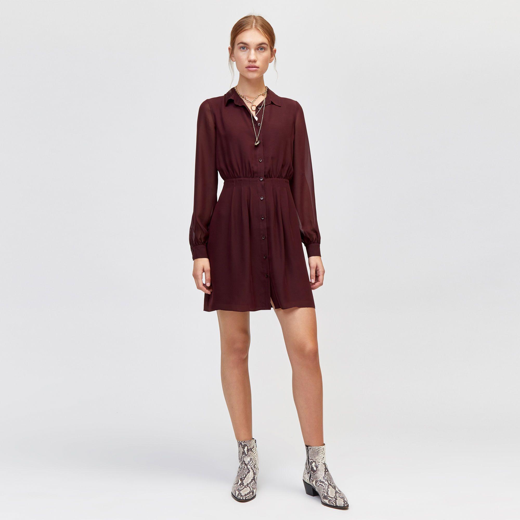 56beec5bbeb9 Chiffon pintuck shirt dress | clothes | Shirt Dress, Dresses, Shirts