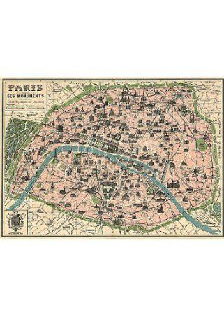 Vintage Paris Map Monuments Poster By Cavallini Papers Plan Paris Carte Paris Paris Vintage