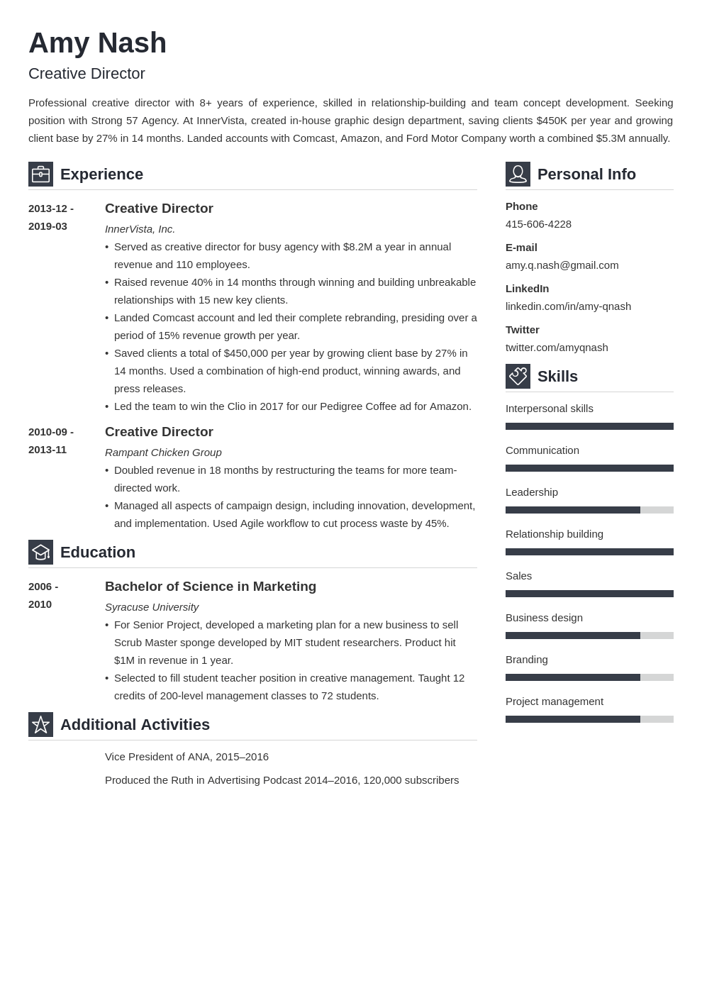 creative director resume example template vibes  resume