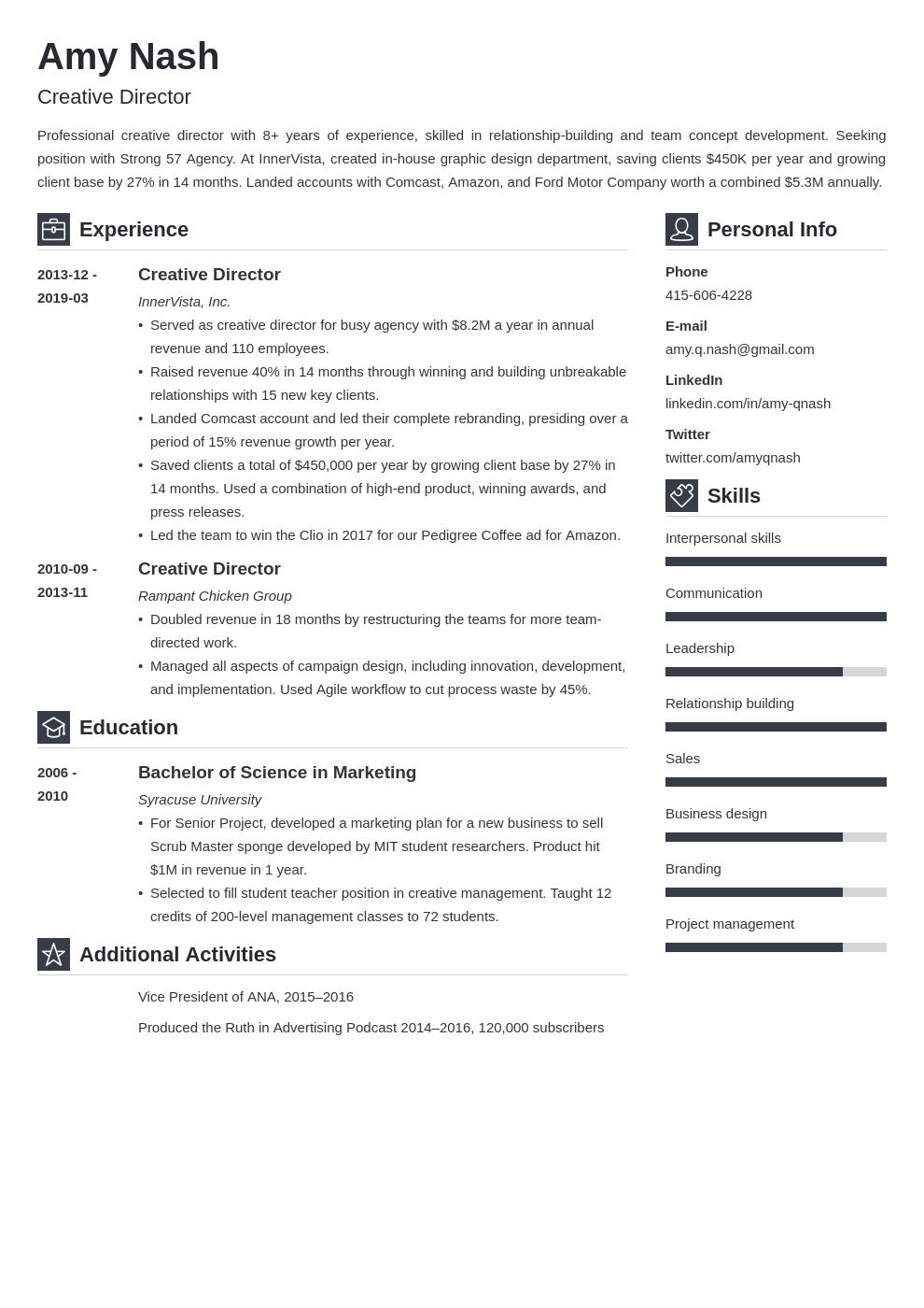 Creative Director Resume Example Template Vibes Resume Examples Job Resume Examples Resume