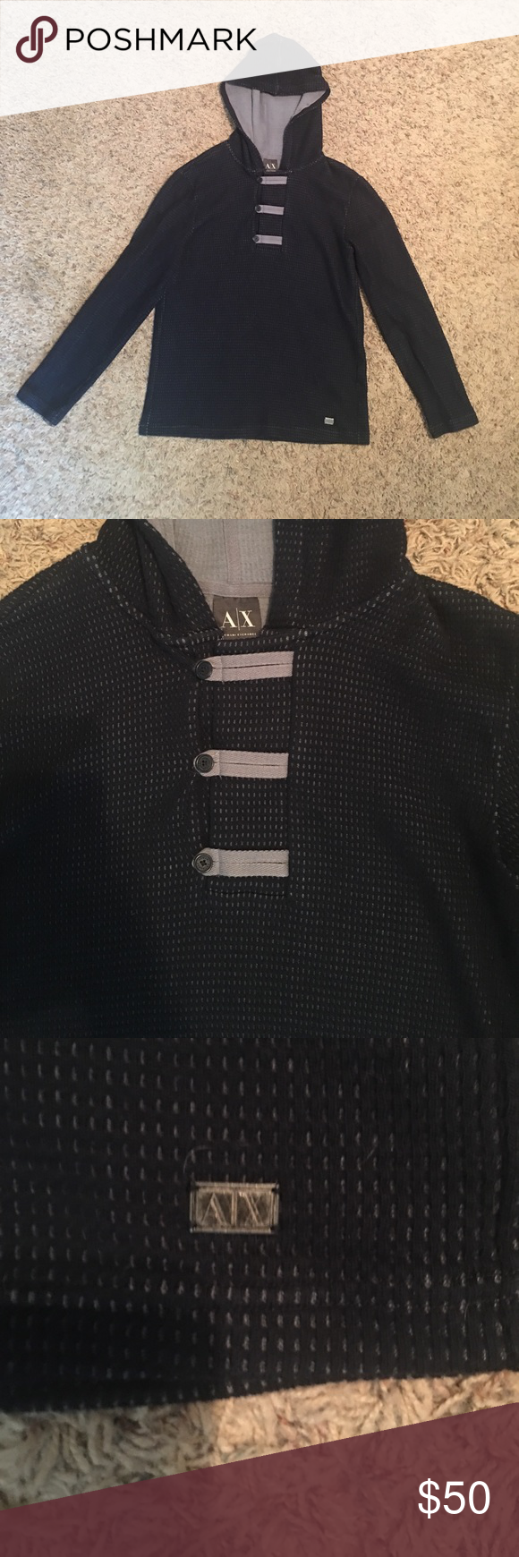 Men's Armani Exchange sweater! 100% cotton size XL blue sweater. Great condition with a hood! A/X Armani Exchange Sweaters