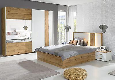 Details zu Schlafzimmer-Set Wood in Hochglanz-Weiß mit Applikationen ...