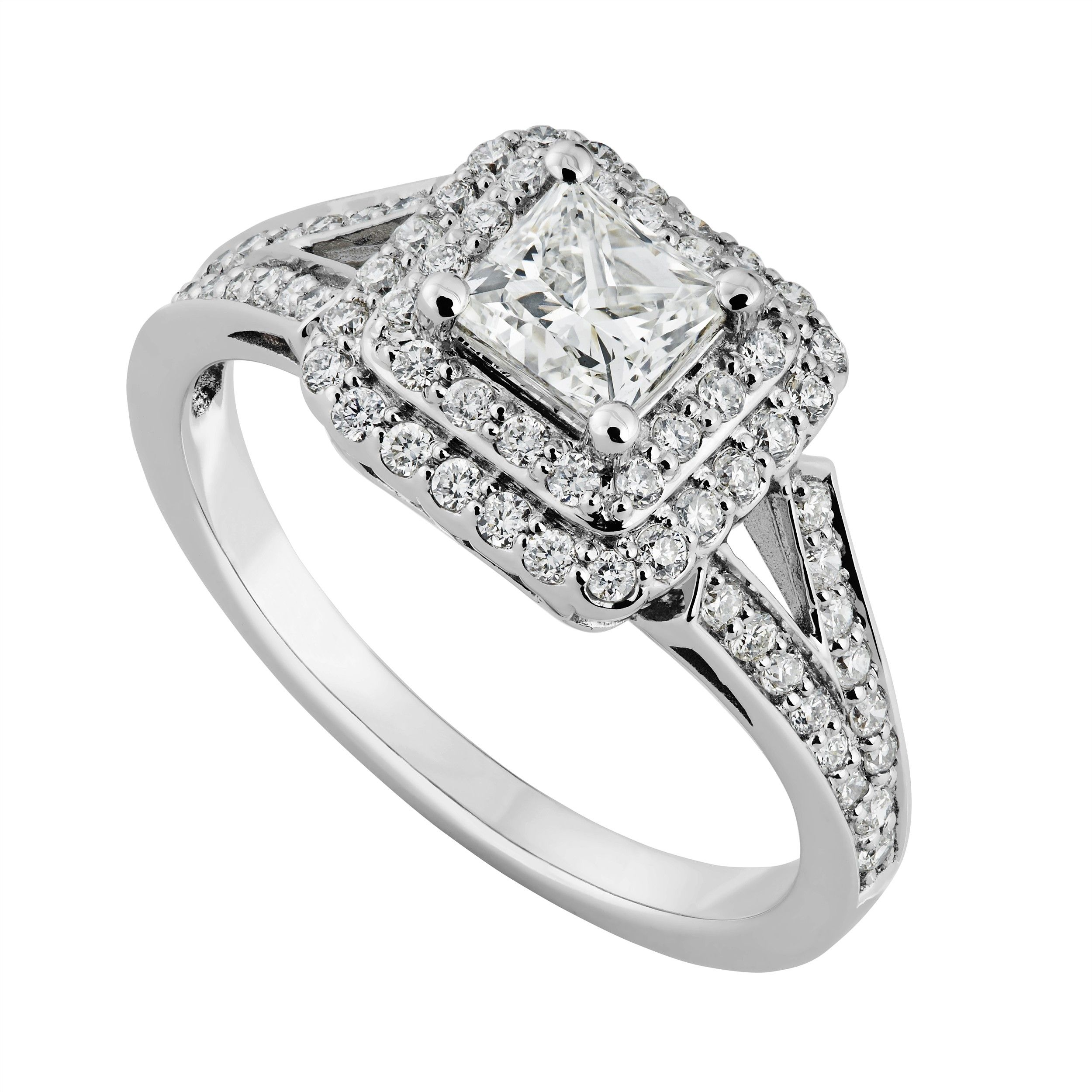 18ct White Gold 085 Carat Princess Cut Diamond Ring