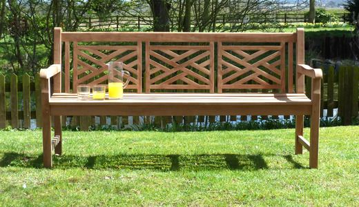 Astonishing Oxford Cross Weave Back Teak Garden Bench 180 Cm 295 Machost Co Dining Chair Design Ideas Machostcouk