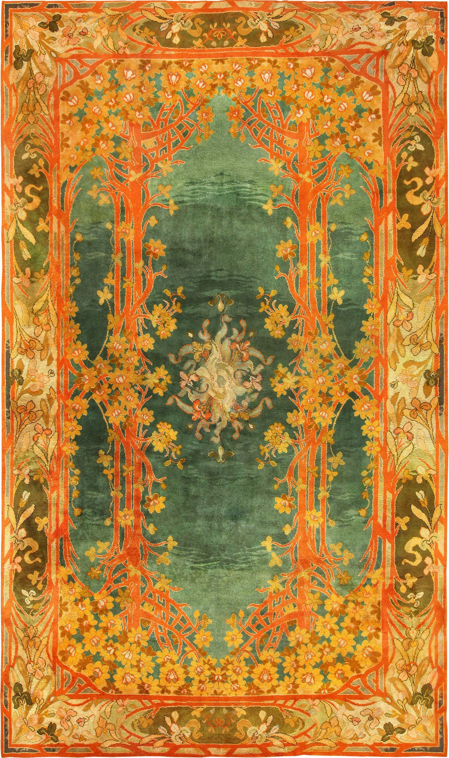 Long and Narrow Antique Art Nouveau Irish Donegal Rug 49155