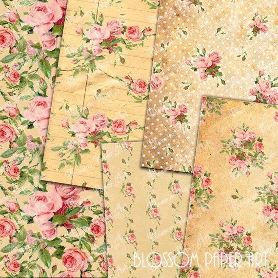 Shabby Chic Digital Papers - Vintage Roses - Floral Collage Sheet - Flowers - Scrapbooking - Printables - DIY