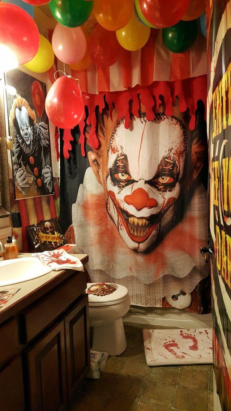 Scary Creepy Clown Halloween Bathroom In 2020 Creepy Halloween Decorations Halloween Bathroom Scary Halloween Decorations