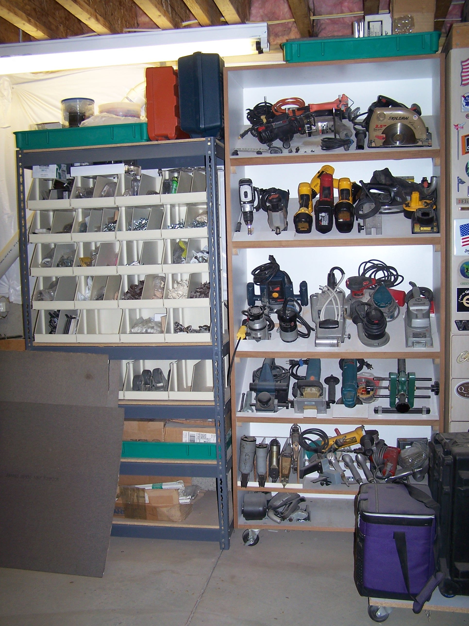 tools organized ideas for the garage ? love the slanted shelves for