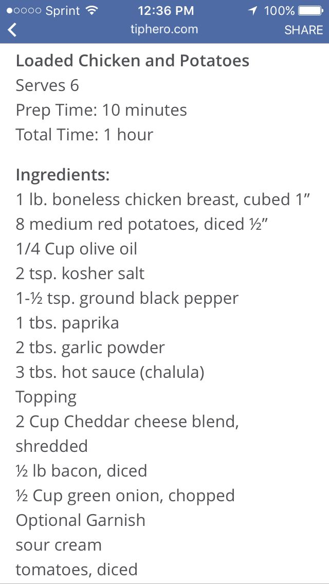 Loaded chicken and potatoes ingredients