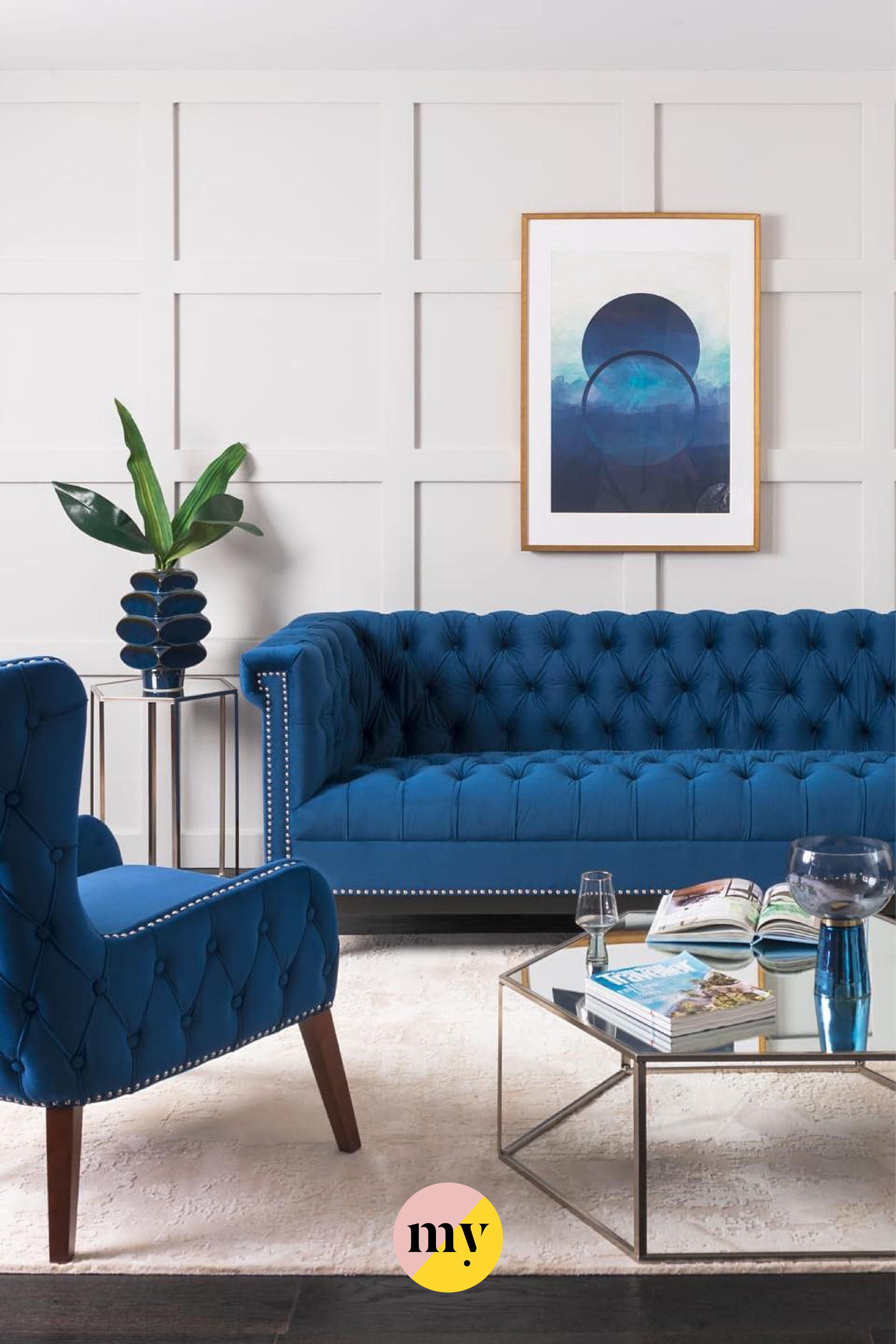 Bergmann Three Seat Sofa Navy Blue In 2020 Navy Blue Sofa Velvet Upholstery Fabric Sofa
