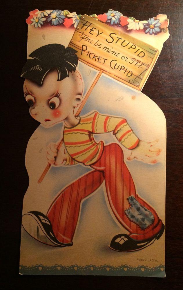 Hey Stupid  Cranky Little Boy Picketing Cupid Unused Vintage