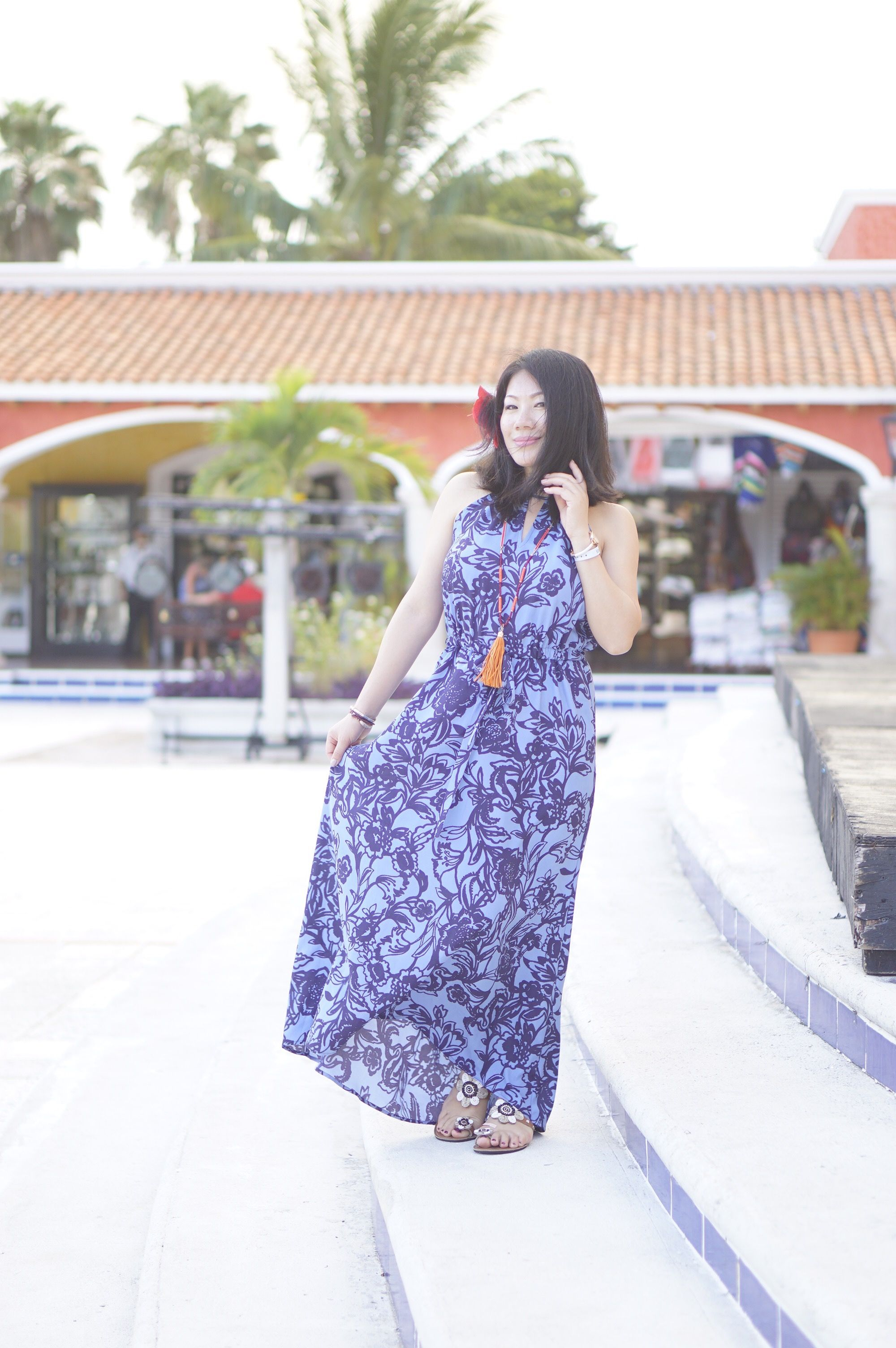4b82088c8ae2 2016 beach vacation look petite over 40 style Loft blue floral maxi dress