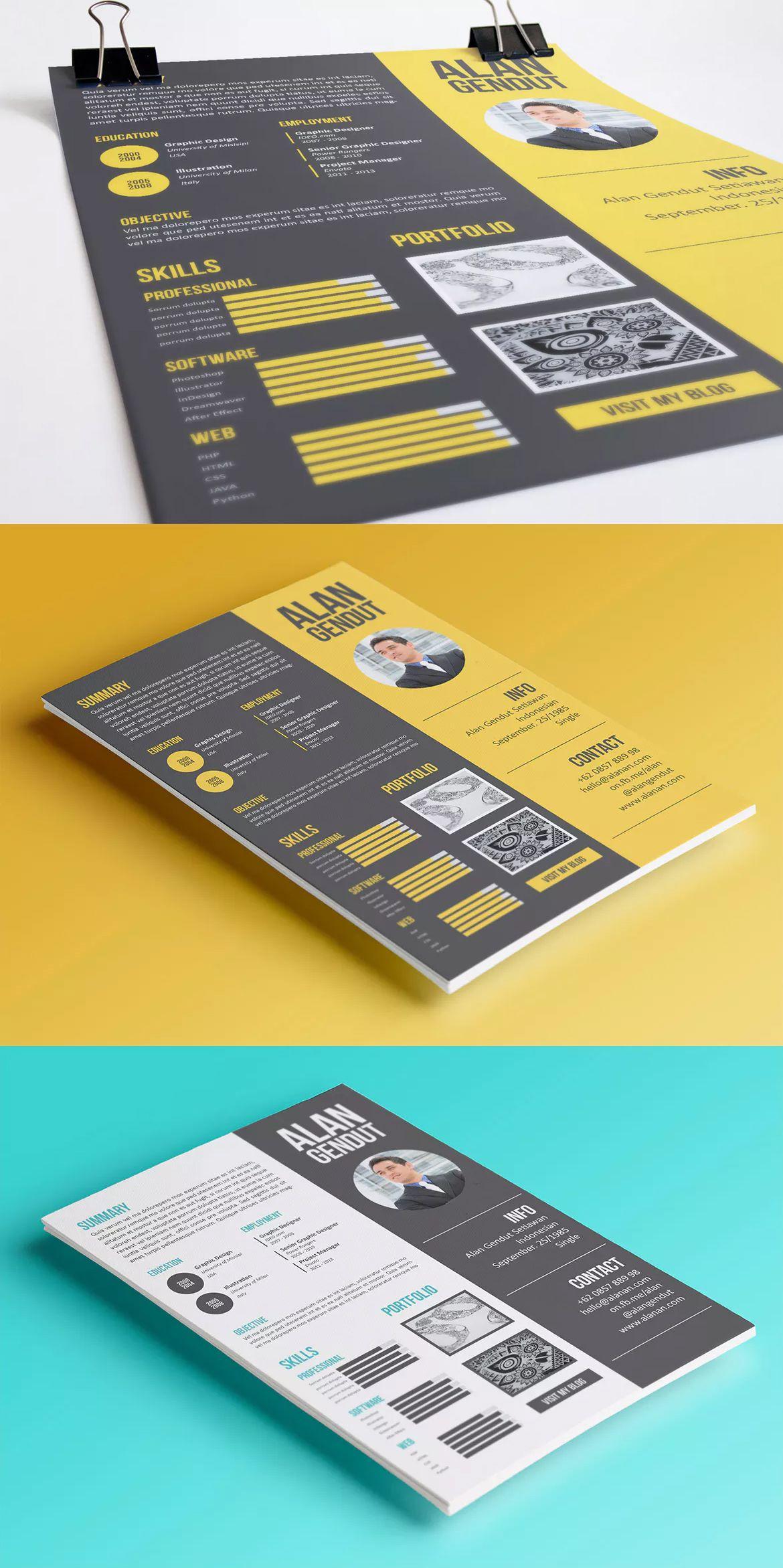Modern Resume Template InDesign INDD A4 | Resume | Pinterest ...