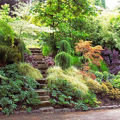 Shade Garden Ideas Shade Gardens Sloped Garden