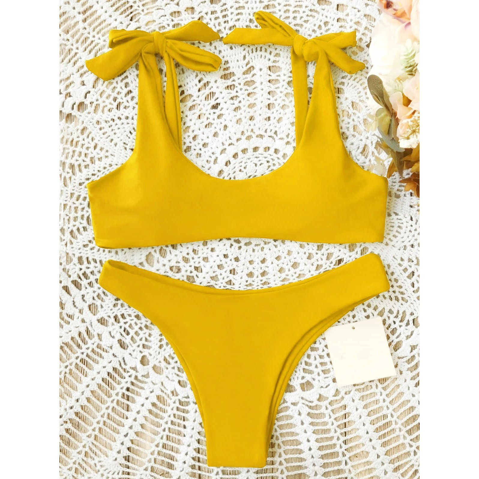 98ab51dff1 Sheinstreet Spring and Summer Sexy Pure Color Bow-Knot Bikini Swimwear