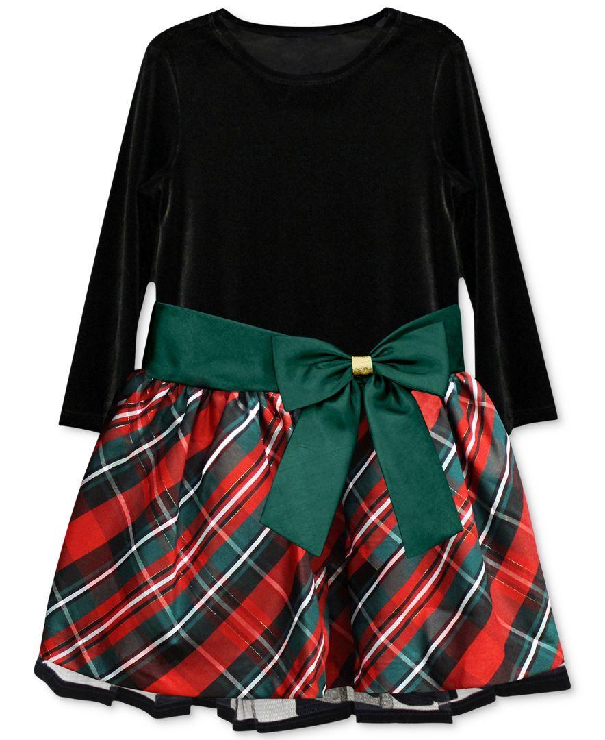 Jayne Copeland Little Girls Plaid Bow Dress Toddler