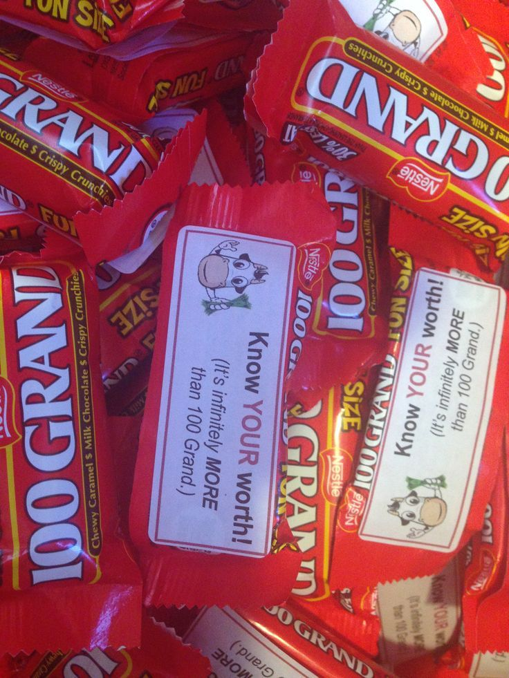 These 100 Grand candy bars were included in our Relief Society Women's Conference gift bags. The theme was 'Know YOUR Worth YOU are an 8 cow woman!' taken from the classic Mormon film Johnny Lingo - with the disclaimer that we DON'T need a man to tell us our worth. We used a lot of cows and cow print.