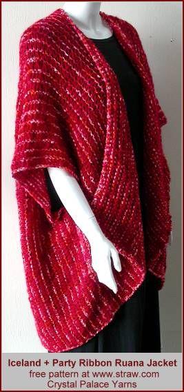 Iceland + Party Ribbon Ruana Jacket - Free knit jacket pattern from ...