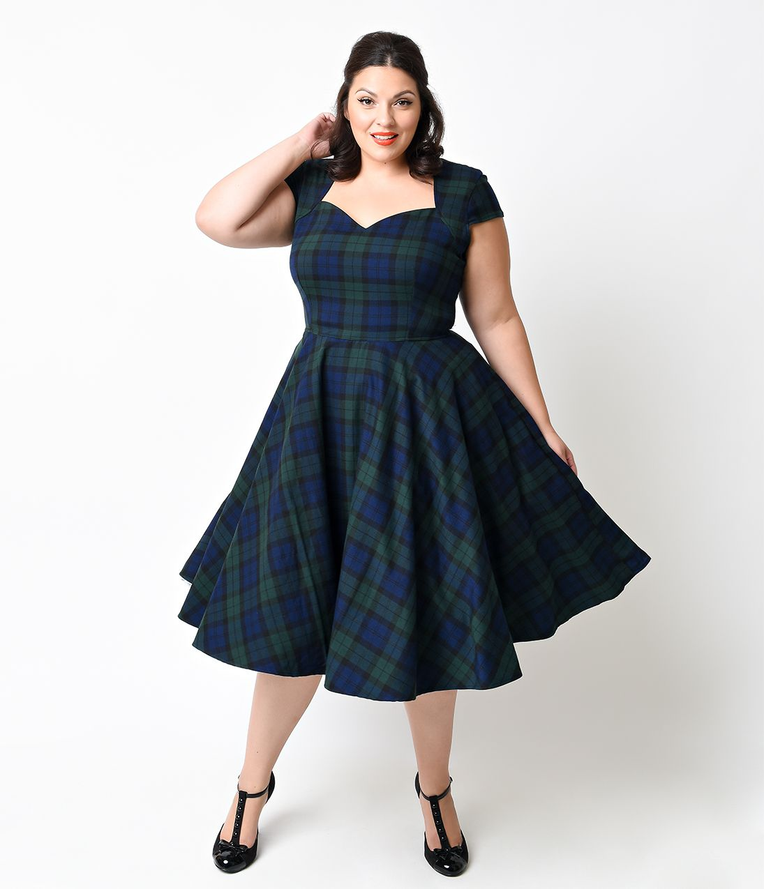 5d2679894b06f1 Hell Bunny 1950s Plus Size Green Dublin Tartan Aberdeen Swing Dress $108.00  AT vintagedancer.com