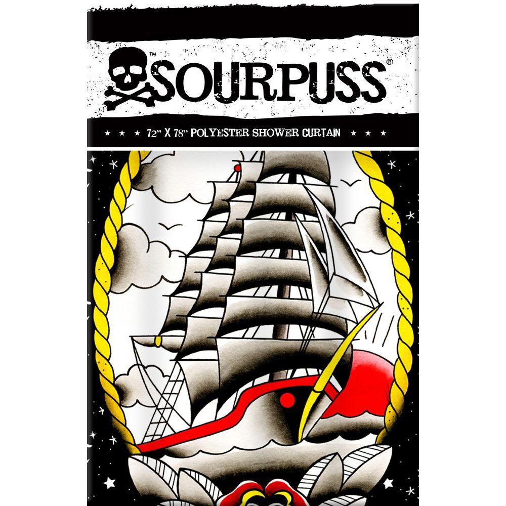 Clipper ship tattoo shower curtain rockabilly punk retro