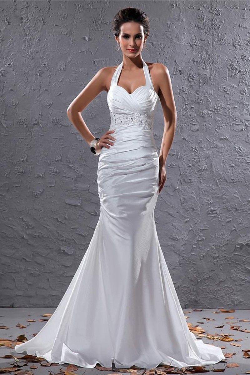 Mermaid White Taffeta Court Train Halter Wedding Dress DWW0293 -