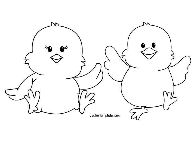 Two Easter Chicks Coloring Page Kids Easter Chicks Easter