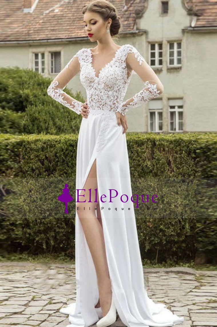 full sleeves v neck prom dresses with applique and slit chiffon
