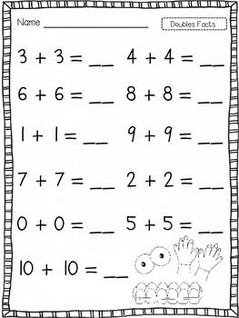 Doubles | Doubles facts, First grade worksheets, First ...