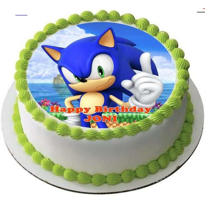 USA 12 Blue Sonic Party Cake Toppers Birthday Party Supplies Cardstock