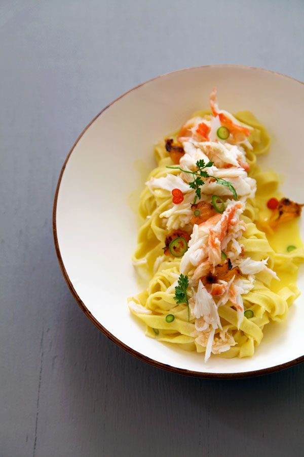 // Tagliatelle with crab, grilled tangerines, chili, lemon