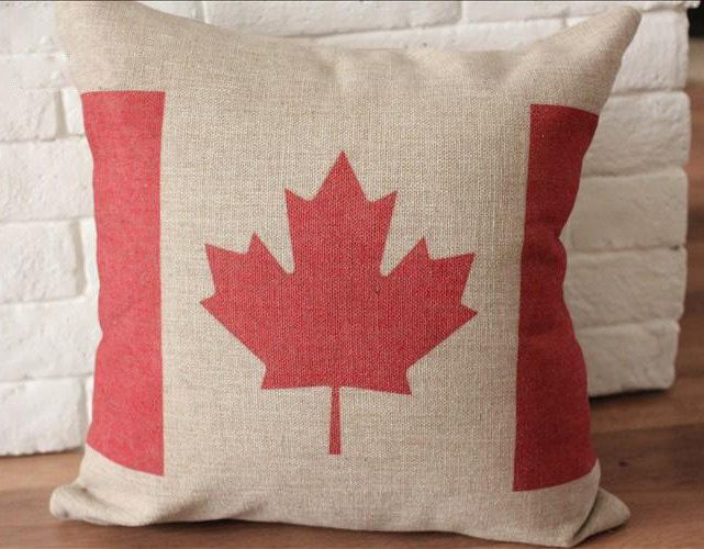 Throw Away Pillow Cases : 18inch Canada Flag Cushion Case, Linen Car Cushion Cover, Cotton Throw Away Pillow Case as ...