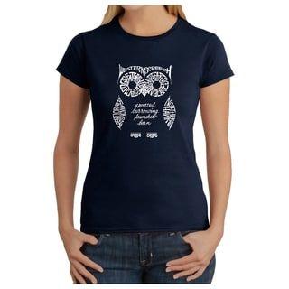 1935ee4533b Los Angeles Pop Art Women s Owl T-Shirt (Blue - 2X) (cotton