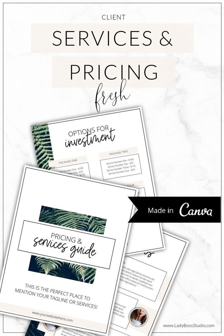 Fresh Pricing and Services Guide Canva (With images