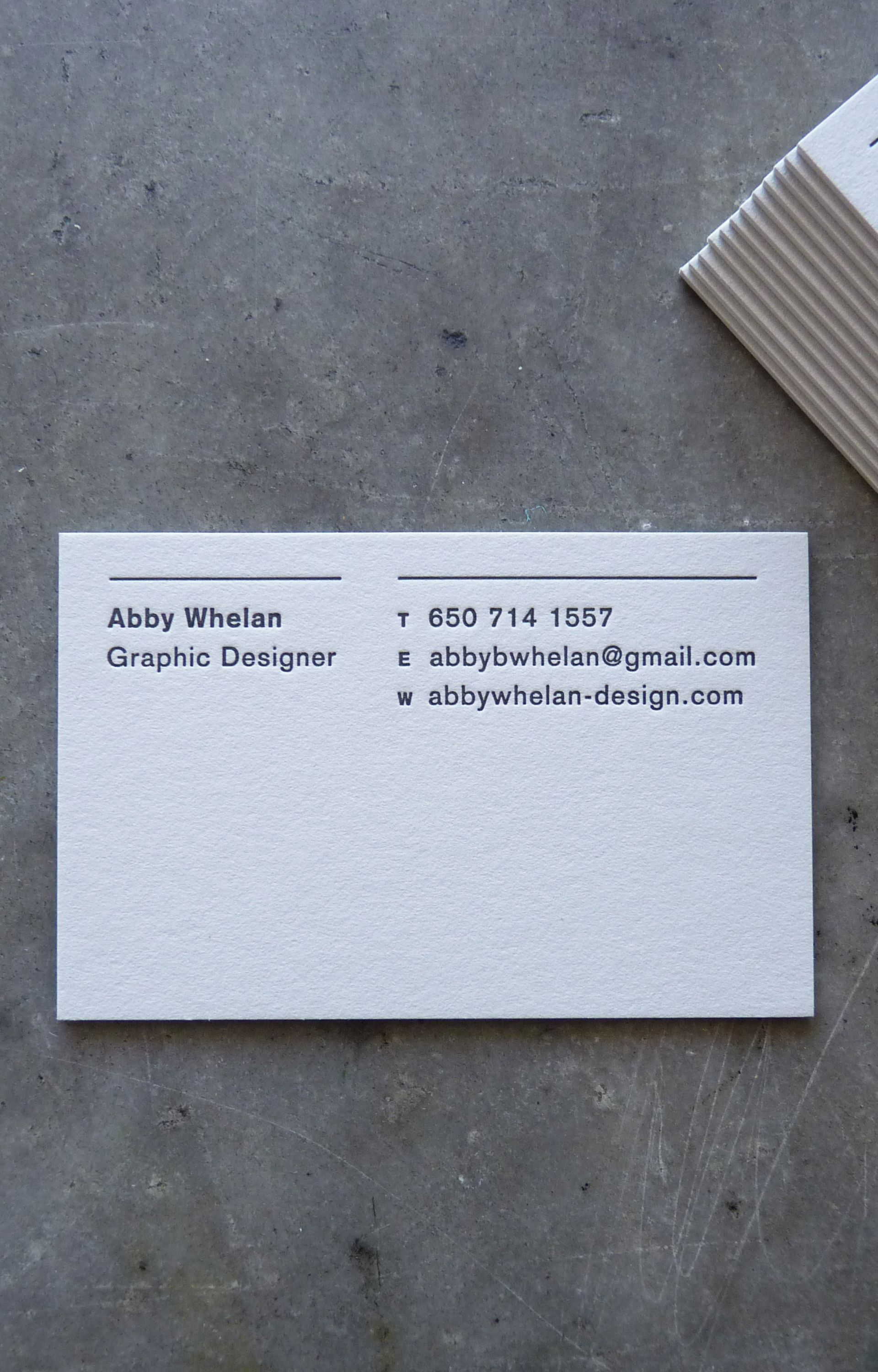 Letterpress Printed Business Card in Black Ink on Extra Thick Stock ...