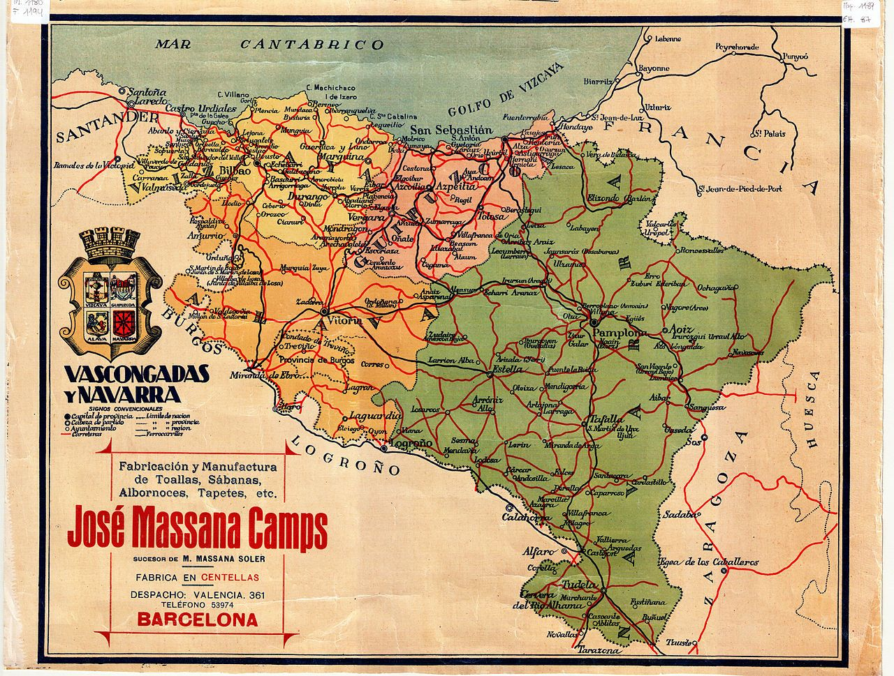 Pin canadian national railroad map on pinterest - Map Of Southern Basque Country 1950 S