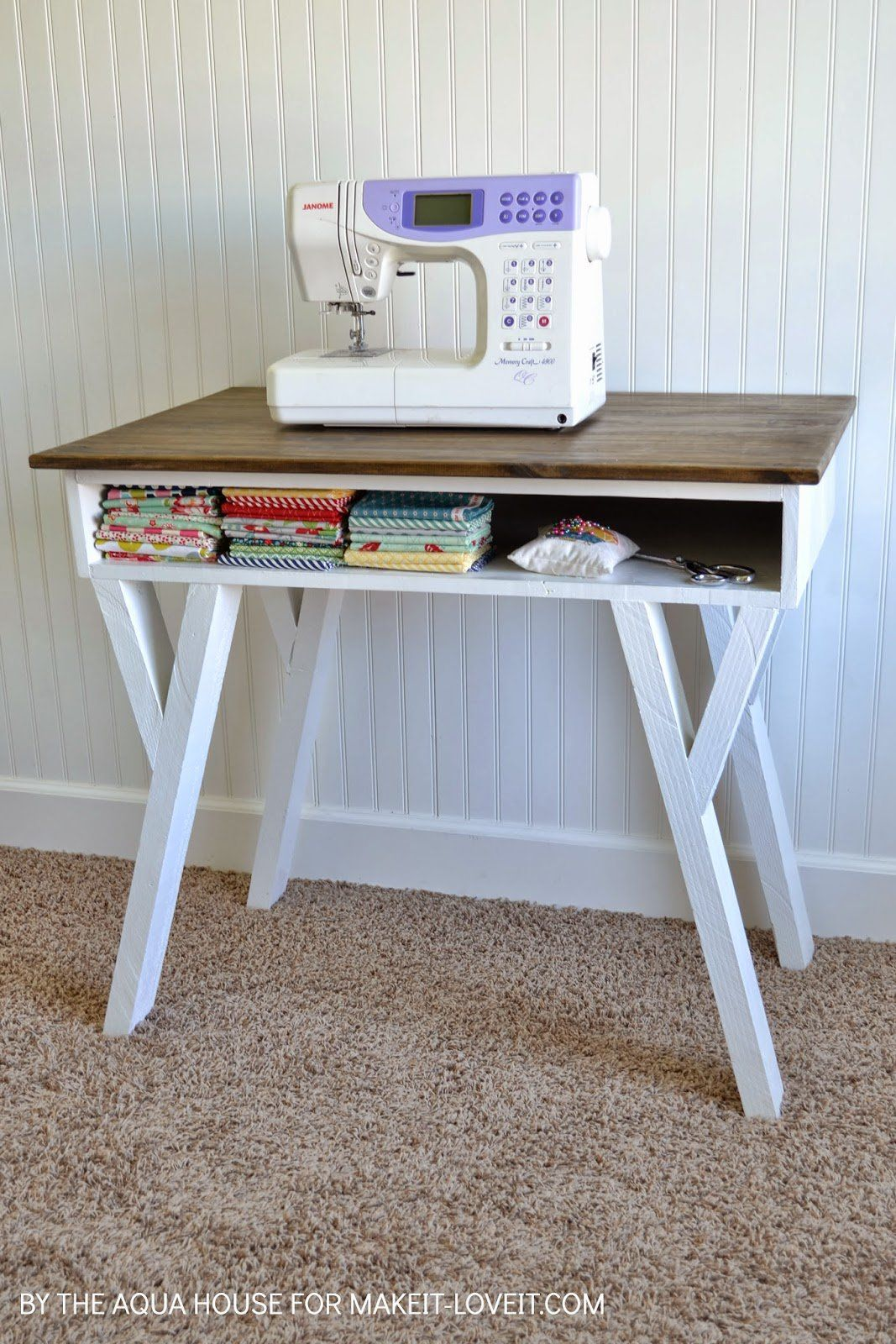 Diy Farmhouse Modern Desk With Open Front Storage Cubby Diy Sewing Table Desk Organization Diy Easy Woodworking Projects