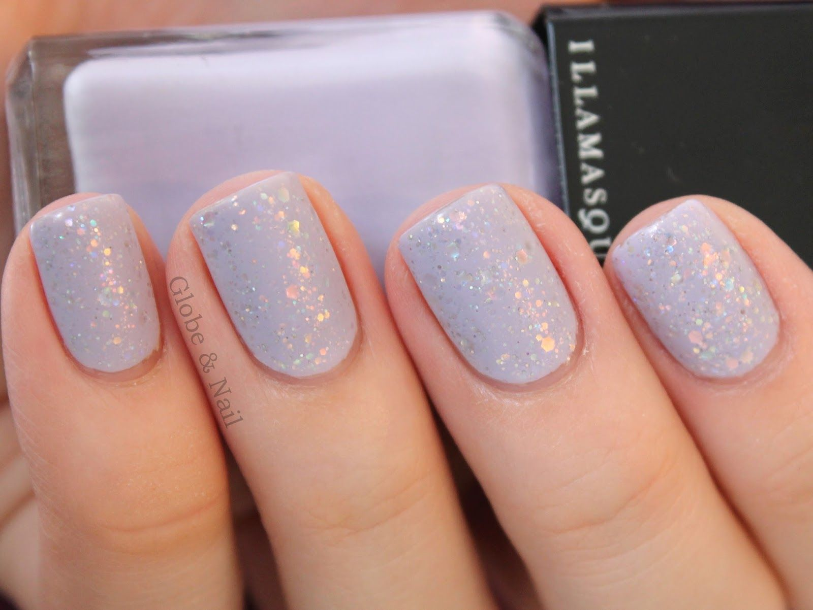 Lilac nails with iridescent glitter topper, matted | Nails - Art ...