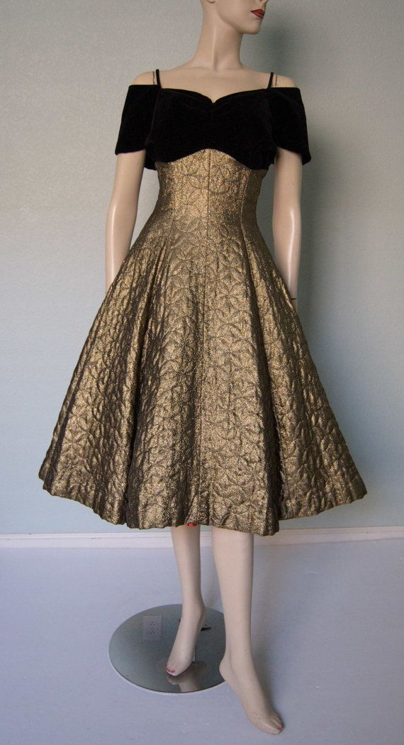 8b21162e0e758 1950s Gold Lame' and Black Velvet New Look Party Dress // Quilted Full Skirt  // Ruched Bust // Off Shoulder Sleeves