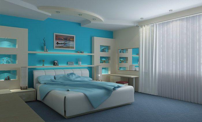 Slaapkamer in moderne stijl andere kleur mooie wandmeubel