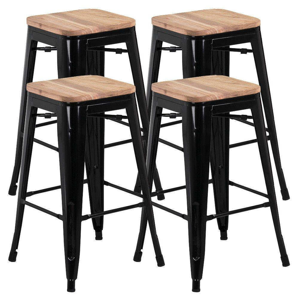 Set Of 4 Steel Metal Industrial Bar Stool Breakfast Kitchen Bistro