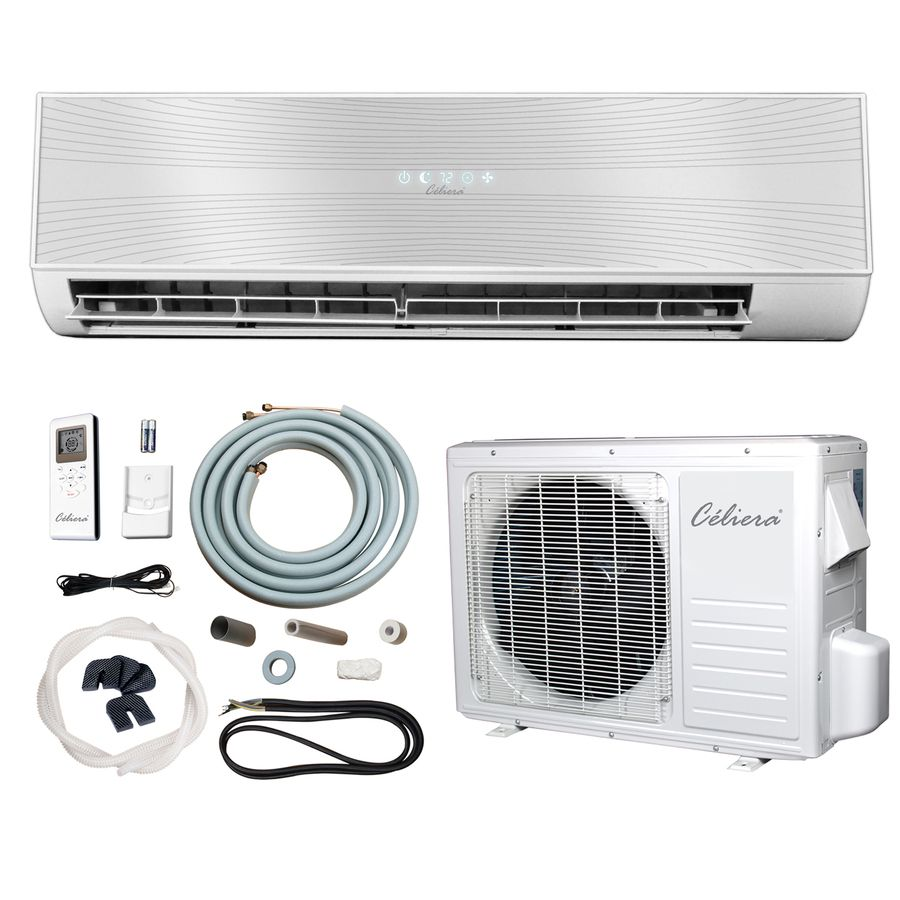 Celiera 9 500 Btu 400 Sq Ft 115 Volt Ductless Mini Split Air Conditioner With Heater With Images Air Conditioner With Heater Wall Air Conditioner Ductless Mini Split
