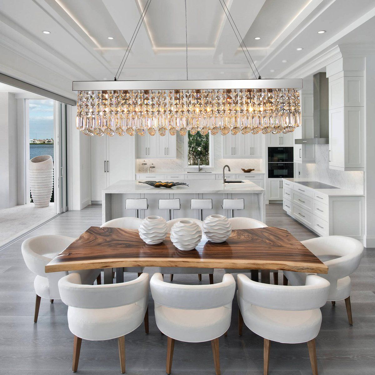 Best Chandeliers For Dining Room: Rectangular Crystal Raindrop Chandelier Dining Room In