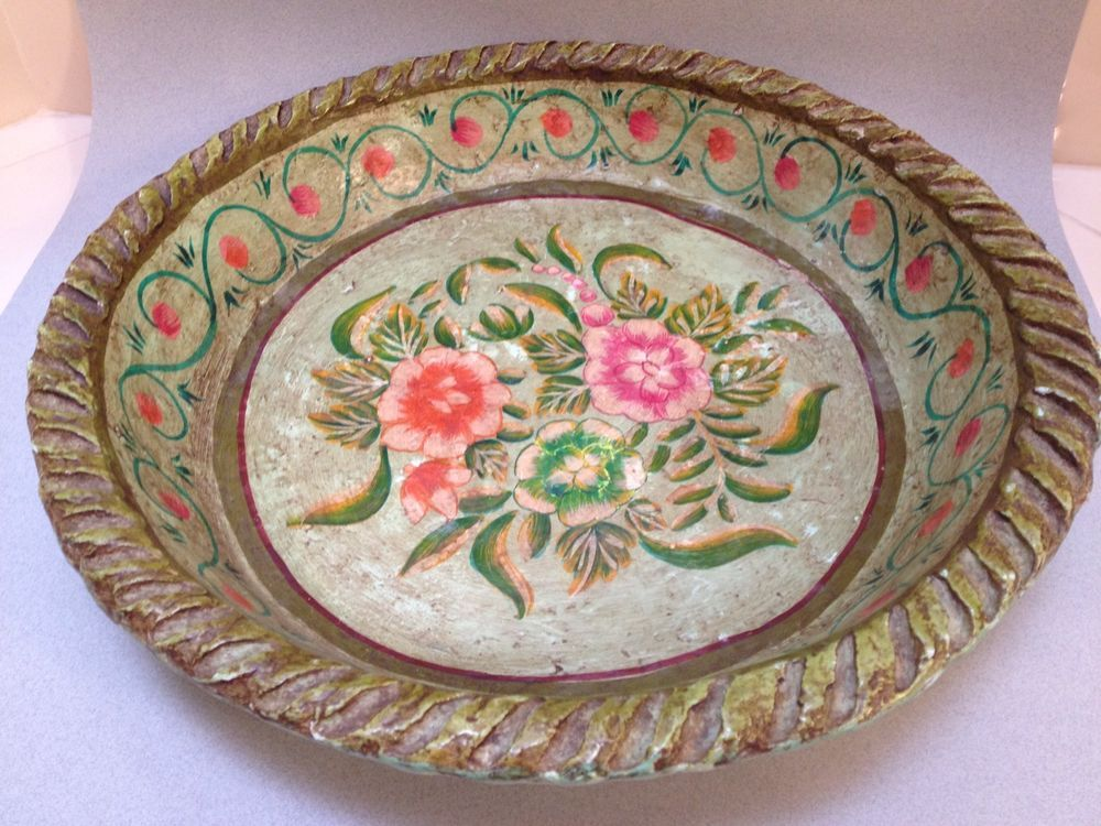 Mexican Hand Painted Paper Mache Plate Dish Bowl & It\u0027s soo pretty. Mexican Hand Painted Paper Mache Plate Dish Bowl ...