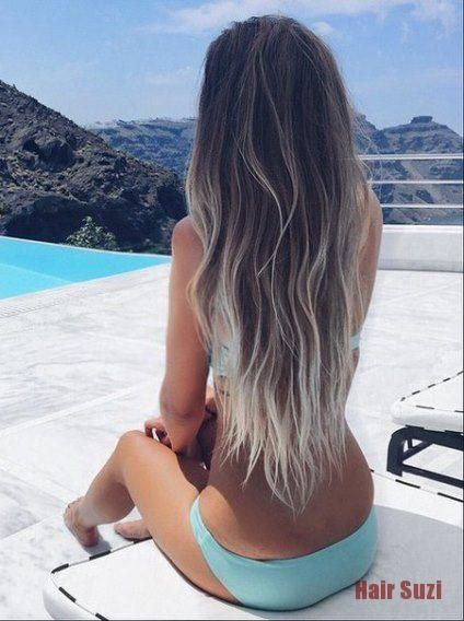 Photo of Platinum Contrast Ombre Hair- Ideas for dark brown and silver ombre hair #hairco…
