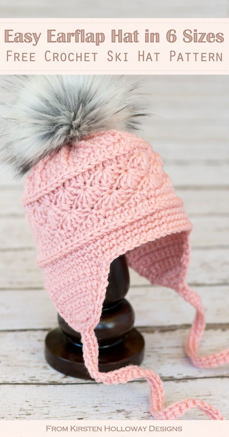 This free ski hat crochet pattern is simple, and easy, and makes a great DIY ski hat hat for winter. Six sizes are included so you can crochet an easy earflap hat for women, kids, and baby. #freecrochethatpatterns #freecrochetskihatpatterns #crochetskihatsfreepattern #kirstenhollowaydesigns #freecrochetpatterns #crochethatpatternsforbabies #crochethatpatternsforwomen #crochethatpatternsforkids #easycrochethatpatterns #easyskihatcrochetpatterns