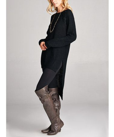 Another great find on #zulily! Black Chunky-Knit Hi-Low Tunic #zulilyfinds
