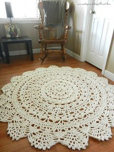 Giant Crochet Doily Rug Floor Off White Ecru Lace